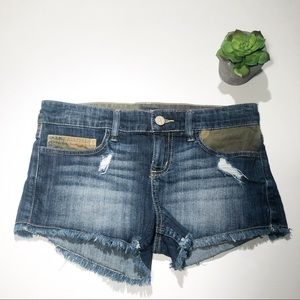 Allen B Short Jean Shorts With Camo Print